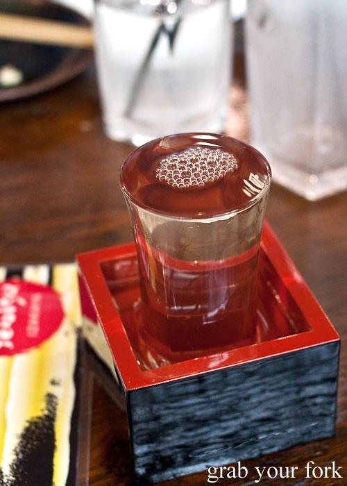 dewazakura ikko sake at yebisu izakaya, regent place sydney