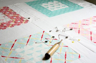 Basting my Sweet Quilt