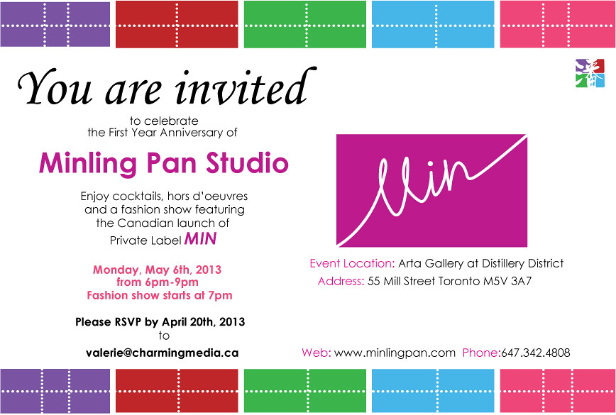 AROUND TOWN Canadian Launch of MIN – Launching Invitation Card