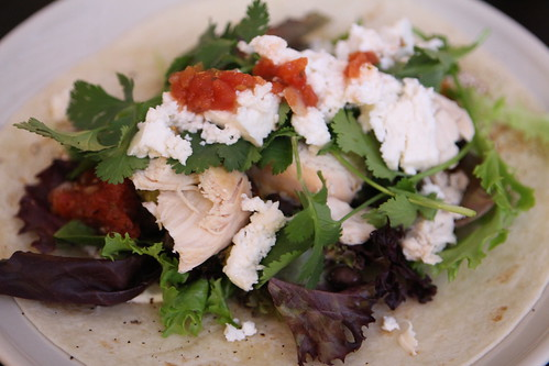 Pulled Chicken Taco with Queso Fresco and Fresh Cilantro