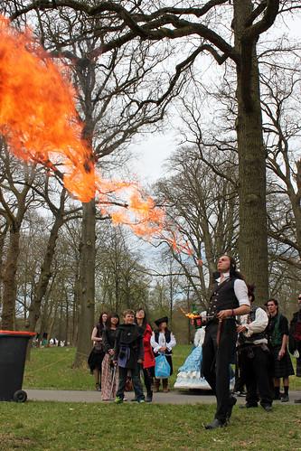 Adam breathing fire