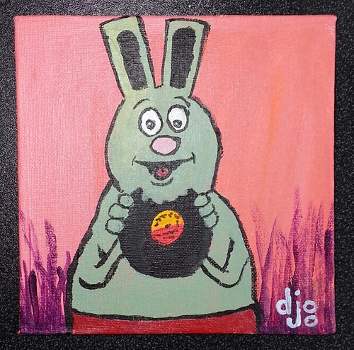 "Record Eating Rabbit: My first attempt at ""cartooning"" with acrylic paints"