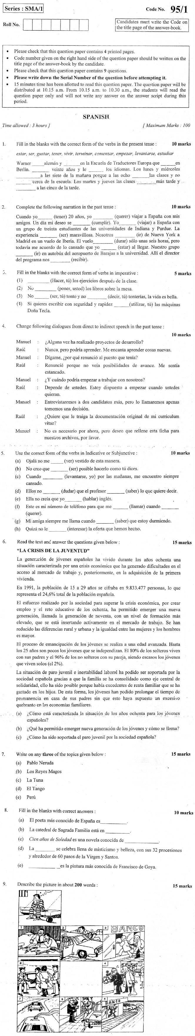 CBSE Class XII Previous Year Question Paper 2012 Spanish