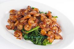 Homemade sauteed Kai-lan and Shrimp