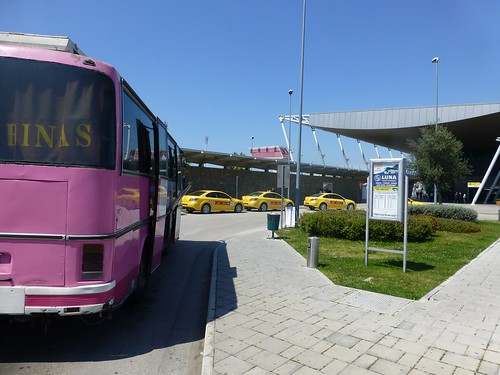 The airport bus outside Rinas airport
