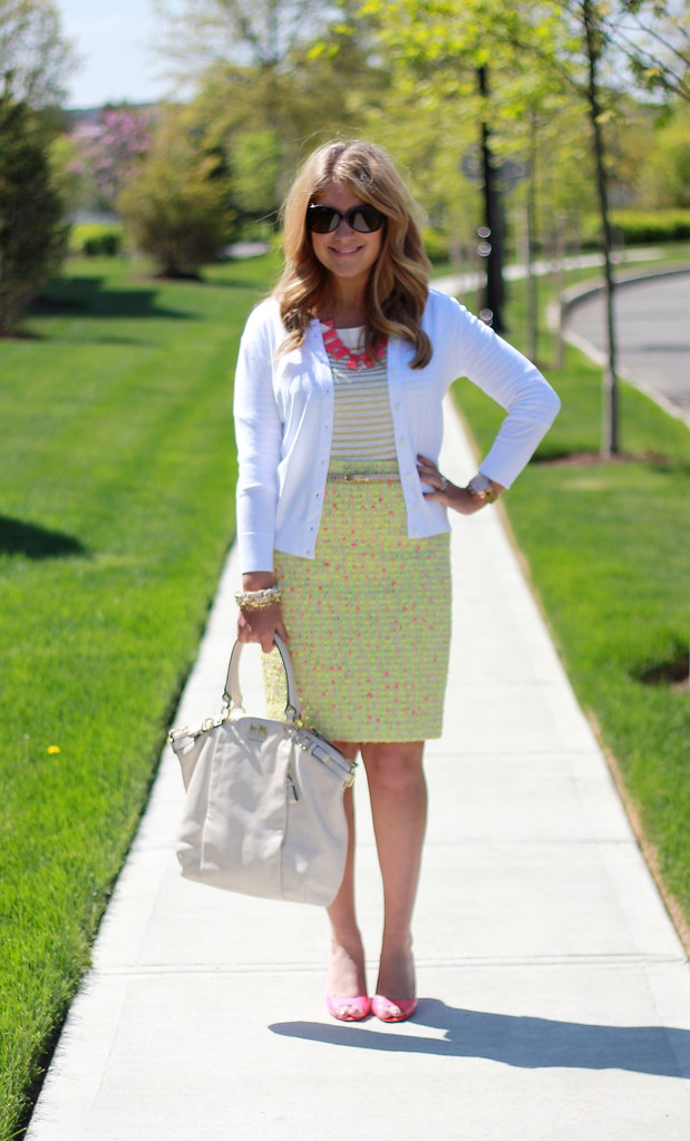 Gold Striped Top + Neon Tweed Pencil Skirt Outfit