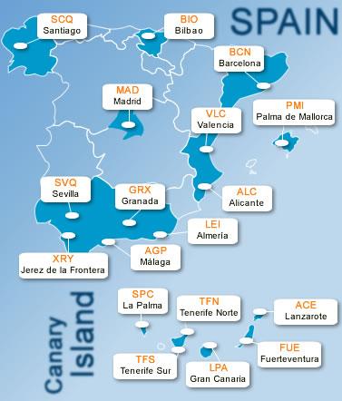 Mapa Aeroportos Espanha