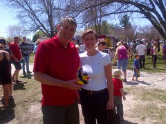 MP Dr. Leitch with the winner of the Stayner Kinsmen Corporate Duck Race, Osteria Vitto restaurant. Saturday, May 4th, 2013.