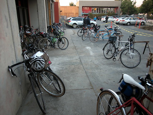 Bike parking at the finish - T-Rex Grill