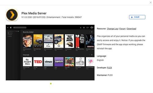 ดาวน์โหลด Plex Server จาก QNAP App Center
