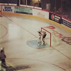 Opening night of @ushl hockey. Maxim Zhukov in net, Casey Mittlestadt at centre ice. #nhldraft