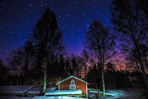 trees winter mill night forest suomi finland stars landscape nightshot talvi fortress starfield savitaipale southkarelia kärnäkoski