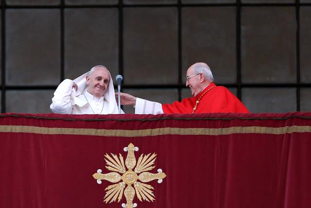 Pope Francis with Italian cardinal Agostino Vallini