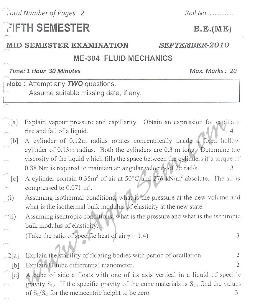 DTU Question Papers 2010 – 5 Semester - Mid Sem - ME-304