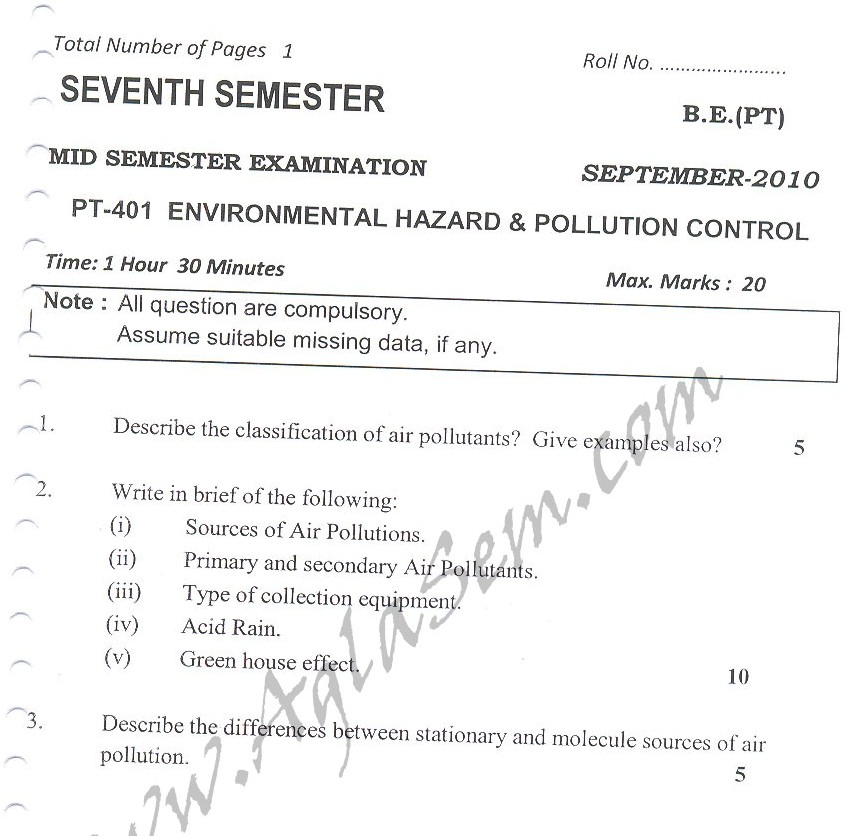 DTU Question Papers 2010 – 7 Semester - Mid Sem - PT-401