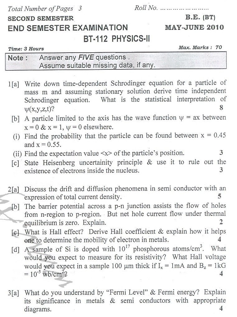 DTU Question Papers 2010 – 2 Semester - End Sem - BT-112