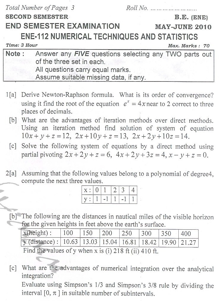 DTU Question Papers 2010 – 2 Semester - End Sem - ENE-112