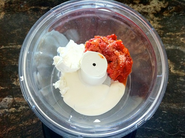 Goat Cheese, Roasted Red Pepper and Sour Cream in Food Processor