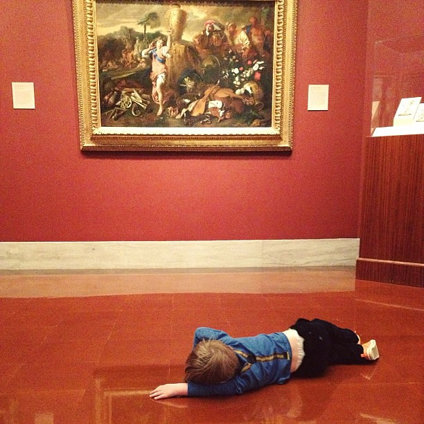 """Someone is taking this """"art is life"""" thing a bit too seriously... #toddler #art #museum #kc #drama"""