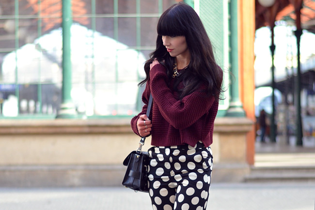 Topshop dots burgundy outfit blogger CATS & DOGS fashion blog 3