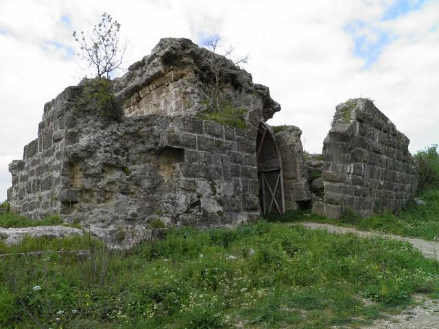 The Eurymedon Bridge near Aspendos, remains of the late Roman bridge foundations, Turkey
