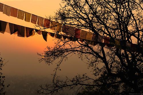 nepal sunrise alba kathmandu prayerflags swayambhunathtemple