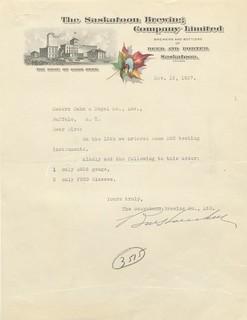 Saskatoon Brewing Company letter