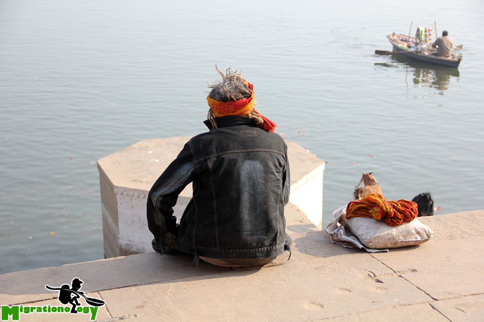Stopping for a break in Varanasi