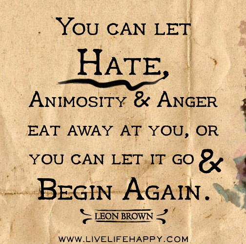 Quotes Of Anger And Hatred: You Can Let Hate, Animosity And Anger Eat Away At You, Or
