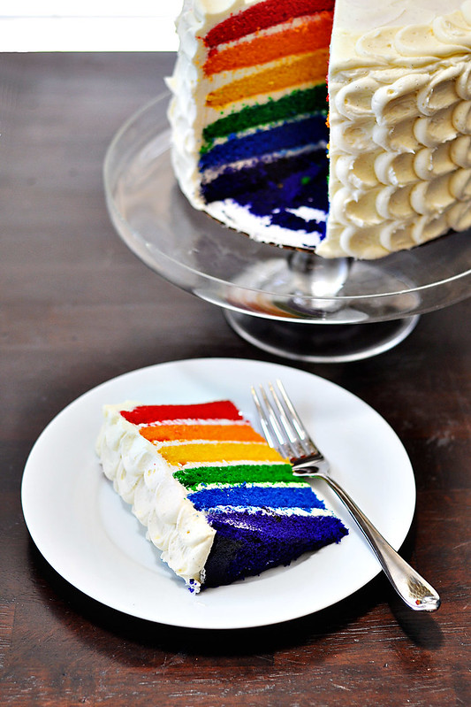 Vanilla Bean Rainbow Layer Cake