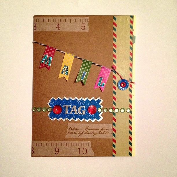 @iheartmail sent me a mail tag #washitape #bunting #garland #snailmail #journal #cover #peeloff #border