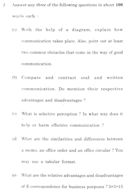 DU SOL B.Com. Programme Question Paper - Business English - Paper XV