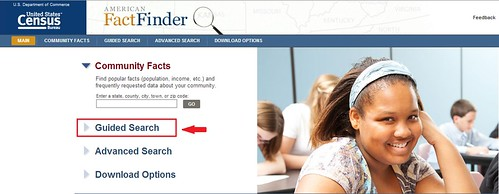 Screen shot of the American Fact Finder homepage