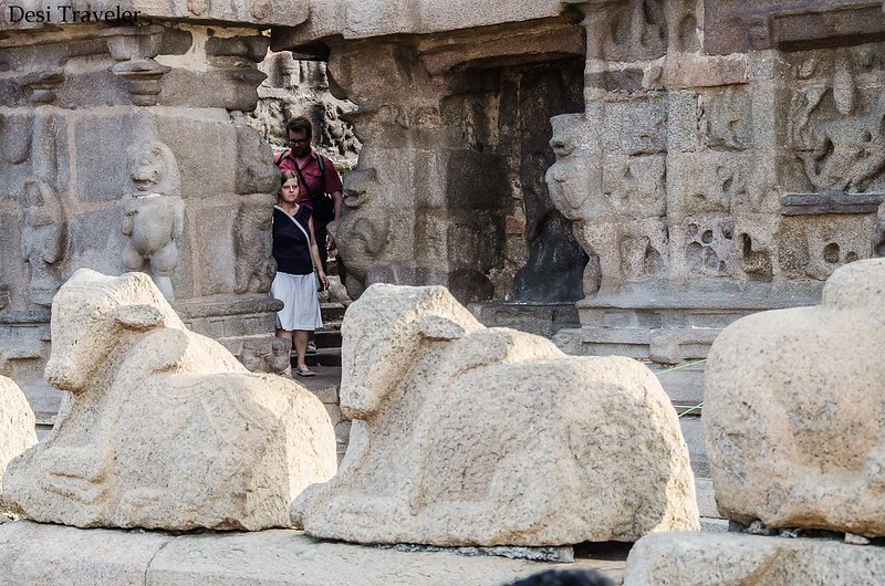 tourists looking at stone sculptures of Shore temple Mahabalipuram