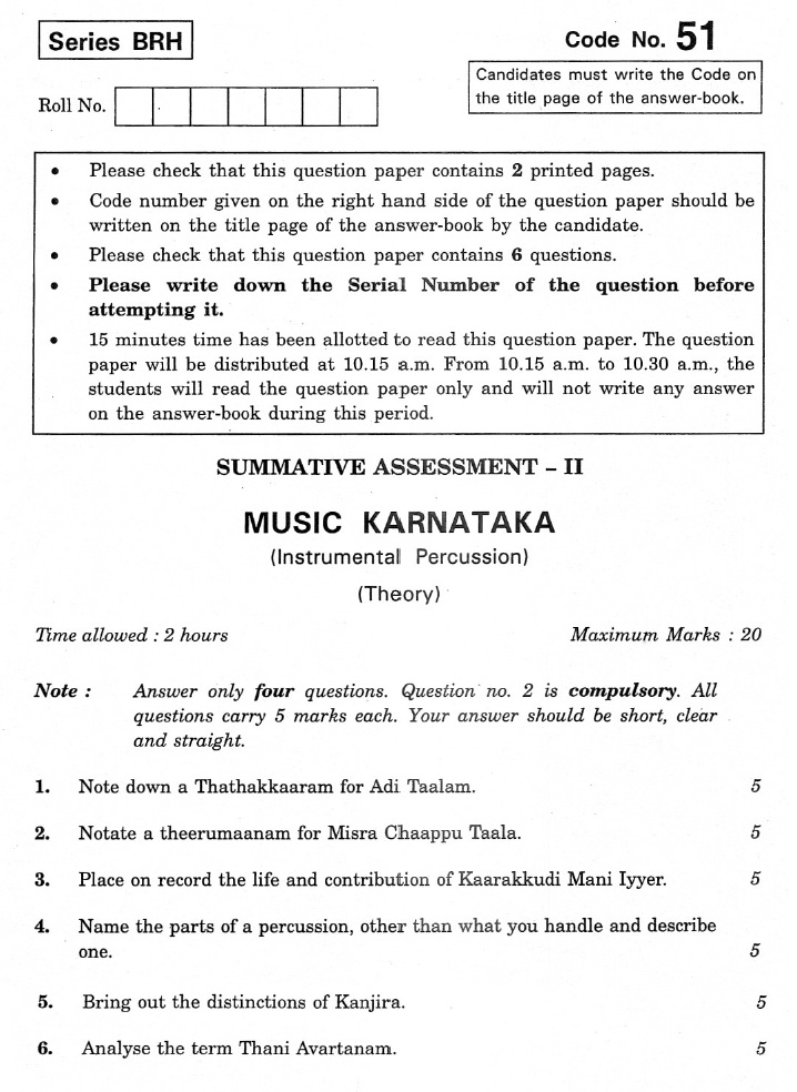 CBSE Class X Previous Year Question Papers 2012 Music Karnataka(Instrumental Percussion)