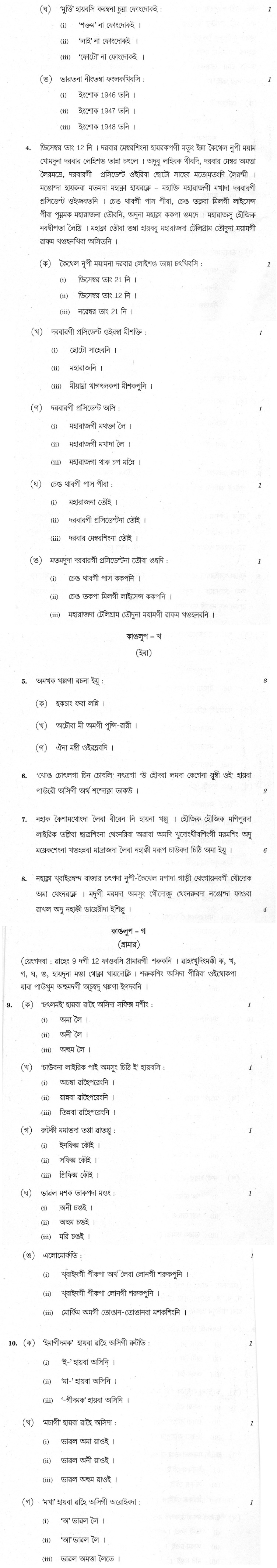CBSE Class X Previous Year Question Papers 2012 Manipuri