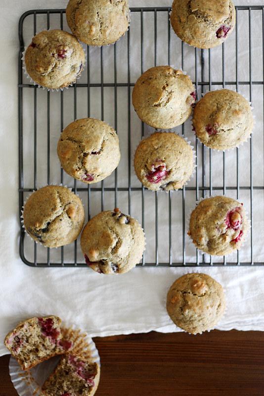 vegan cranberry-cherry granola muffins