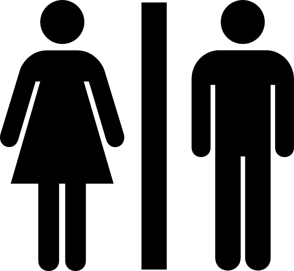Sign Silhouette Female Male Public Bathroom