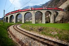 Bernina Express on Brusio spiral viaduct