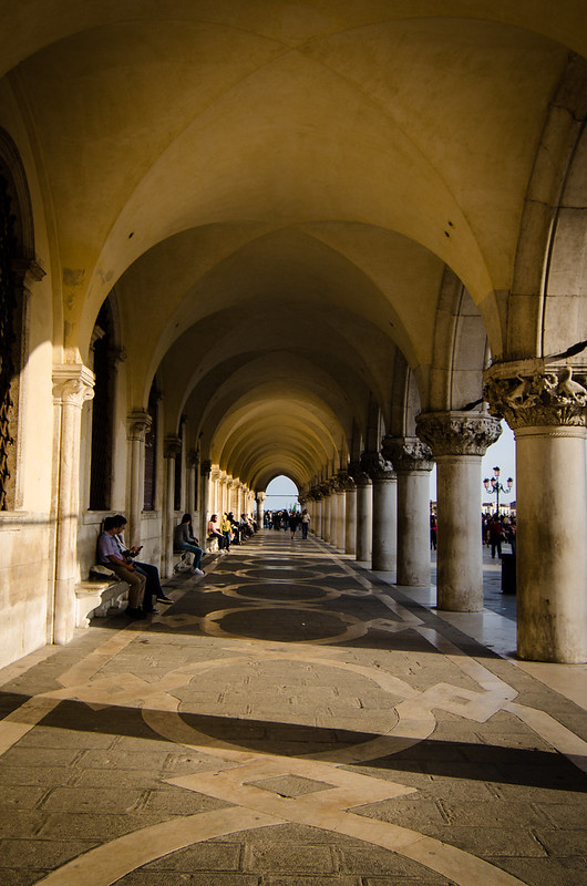 The entrance arcade to the Doge's Palace in Venice, Italy.