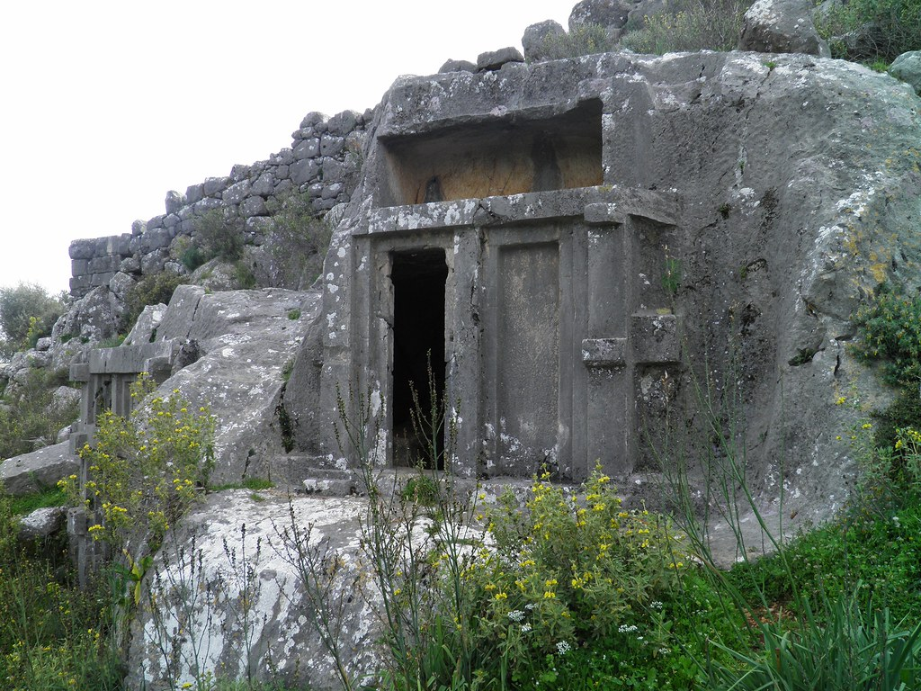 Lycian rock-cut tomb, dating from 4th century BC, Xanthos, Lycia, Turkey