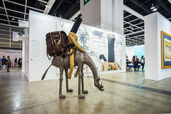 """Mixed Media Sculpture by Samsul Arifin (b.1979): Musafir Artist #1, 2013 (""Goni"": Resin, leather, jute, steel, wood)"" / Nadi Gallery / Art Basel Hong Kong 2013 / SML.20130523.6D.13970"