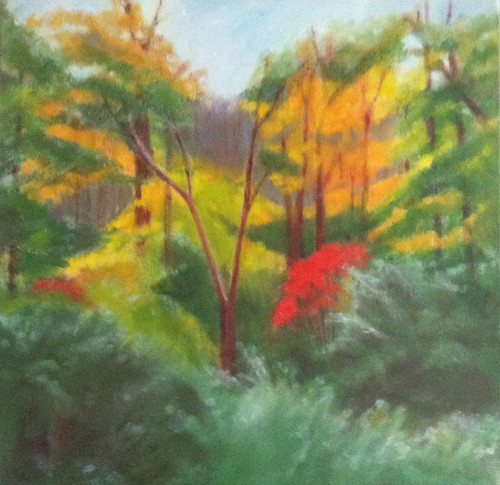 Red Leaves in the Woods (Oil Bar Painting) by randubnick