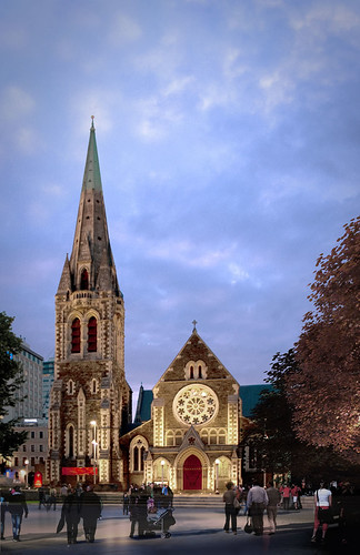 Christchurch Cathedral option 1 exterior dusk
