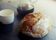 r.e. ~ posted a photo:	A relaxing Sunday at home with homemade bread and pour over coffee. Happy Sunday to all!