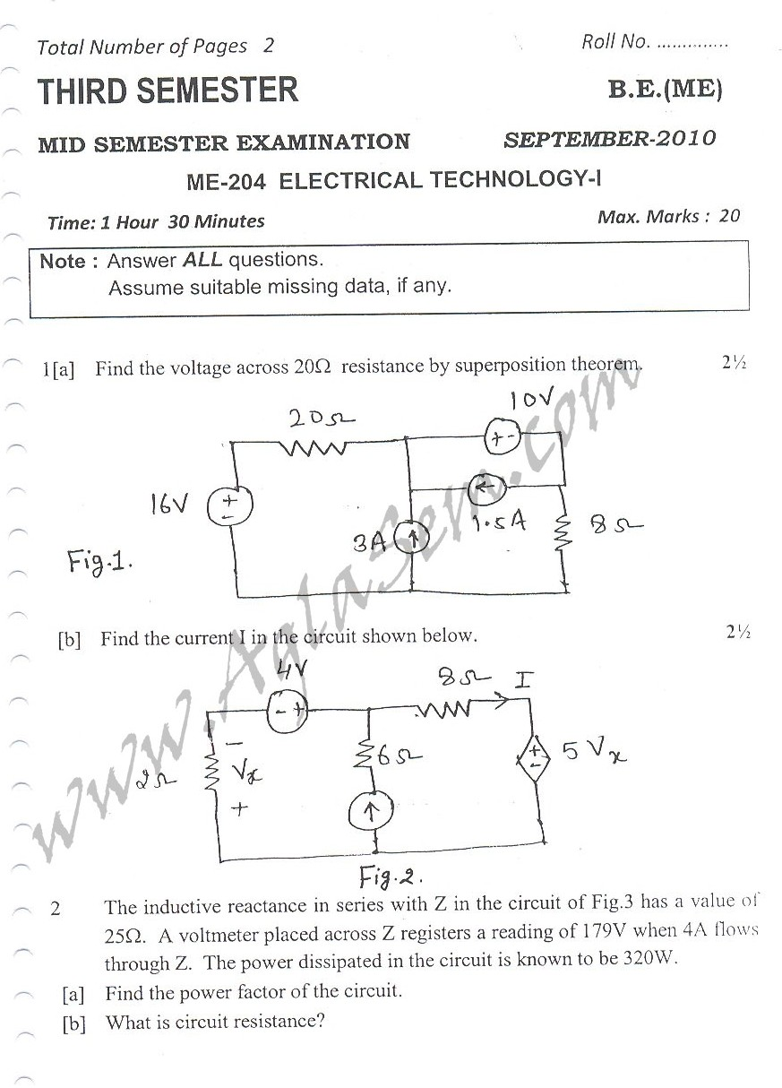 DTU Question Papers 2010 – 3 Semester - Mid Sem - ME-204