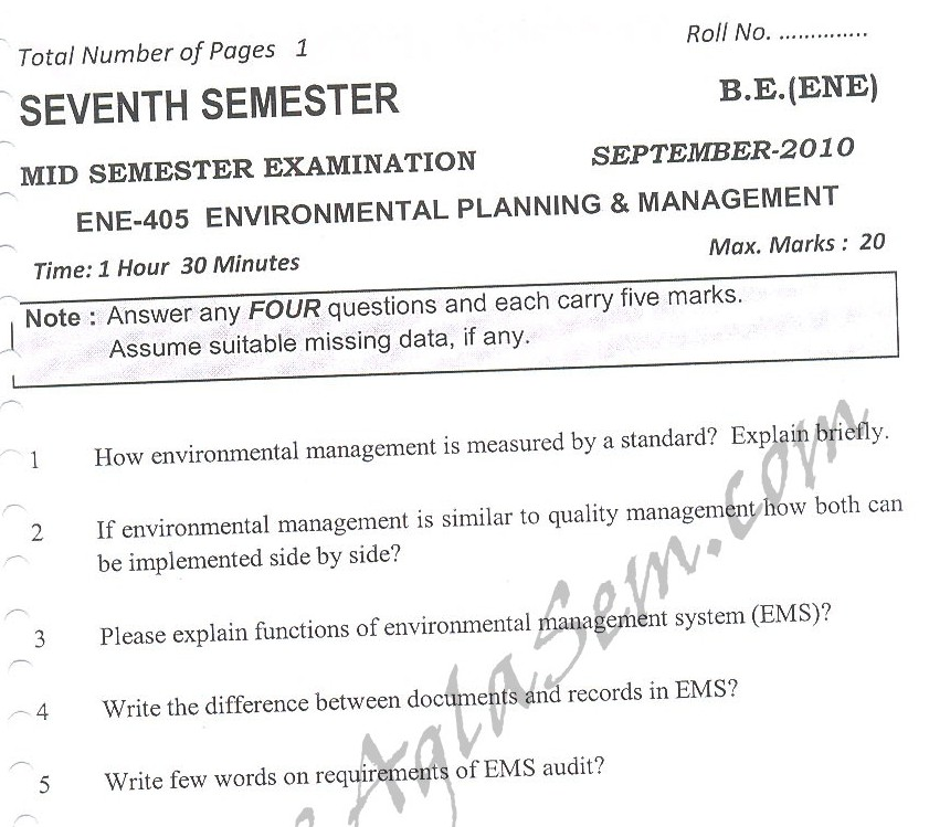 DTU Question Papers 2010 – 7 Semester - Mid Sem -  ENE-405