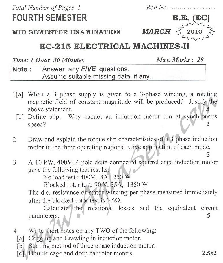 DTU Question Papers 2010 – 4 Semester - Mid Sem - EC-215