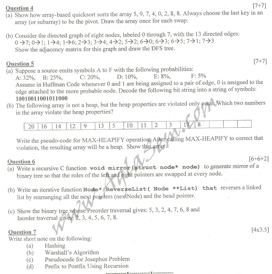 DTU Question Papers 2010 – 4 Semester - End  Sem - COE-213
