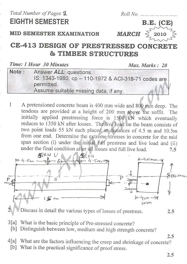 DTU Question Papers 2010 – 8 Semester - Mid Sem - CE-413